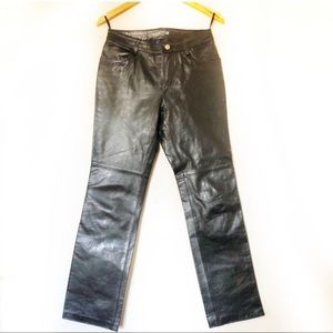 100% Leather Pants 90's Vintage Moto Pants